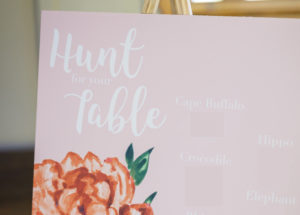 hunt for your table escort sign